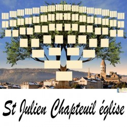 St Julien Chapteuil Eglise - Arbre ascendant vierge 7 générations