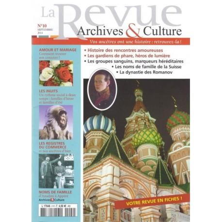 Sommaire de la revue d'Archives & Culture n°10