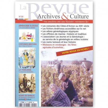 Le sommaire de la revue d'Archives & Culture n°33
